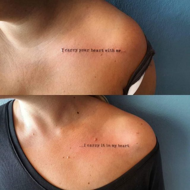 Simple Quote Tattoo On Collar Bone