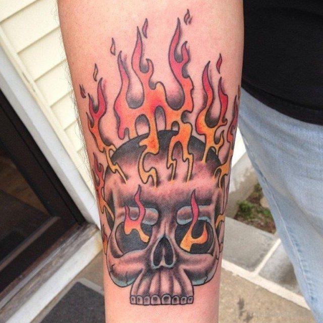 Skull And Flame Tattoo TB1092
