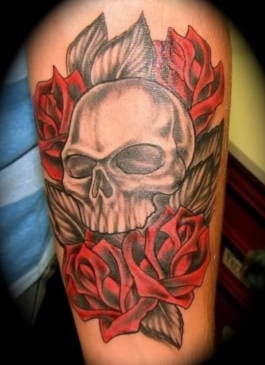 Skull With Roses Tattoo Design For Half Sleeve