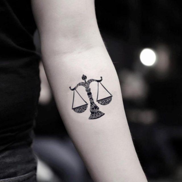 Small Libra Sign Illustrative Temporary Tattoo Design Idea Inner Arm 1024×1024