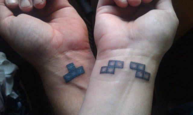 Small Tetris Puzzle Matching Tattoos On Wrists