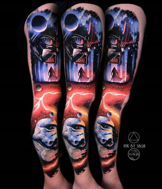 Star Wars leg tattoo