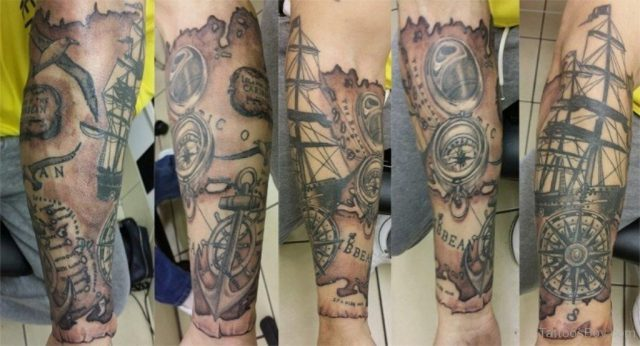 Stylish Compass Tattoo TB1093