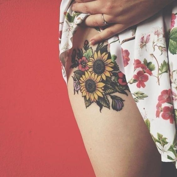 Sunflower Boquet Thigh Tattoo