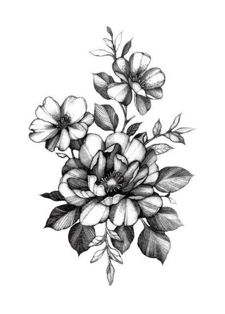 Temporary Tattoo Sticker large size body art sketch flower tattoo water Transfer Fake Tattoo Flash tatto