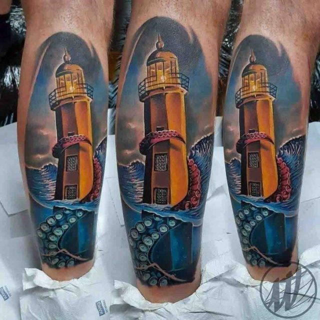 Tentacle Lighthouse Tattoo by Mloody Tattoo 728×728