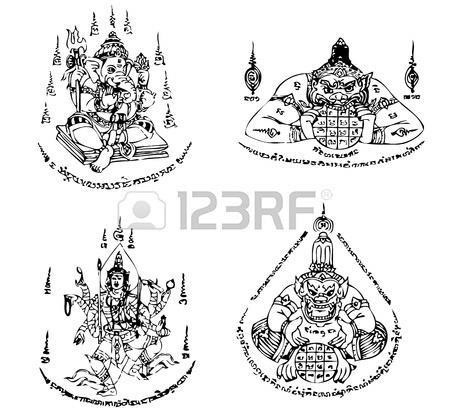 Thai Gods Tattoos Design Set