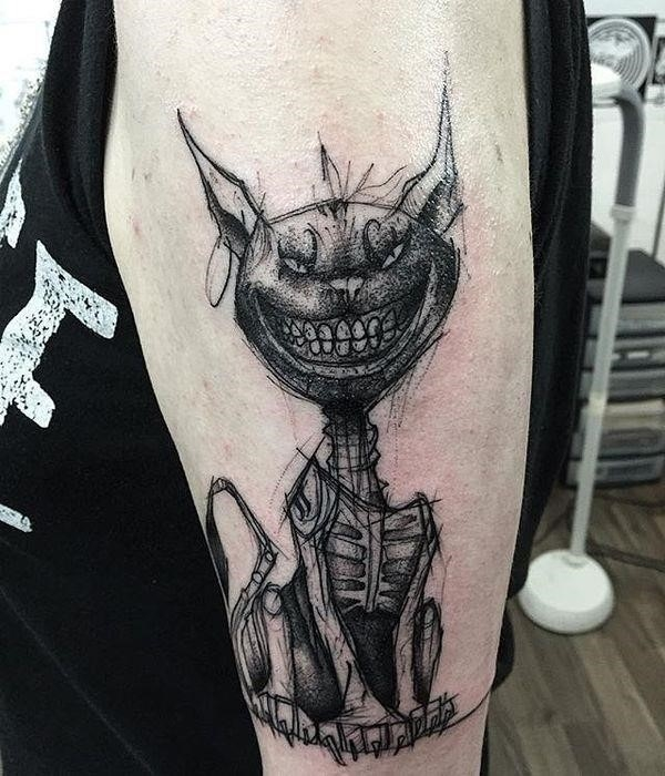 The Cheshire Cat with a raw boned tail tattoo on the arm