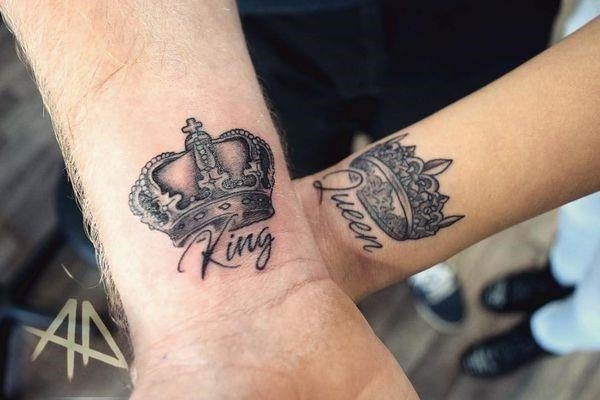 The crown tattoo for his and her on the wrist
