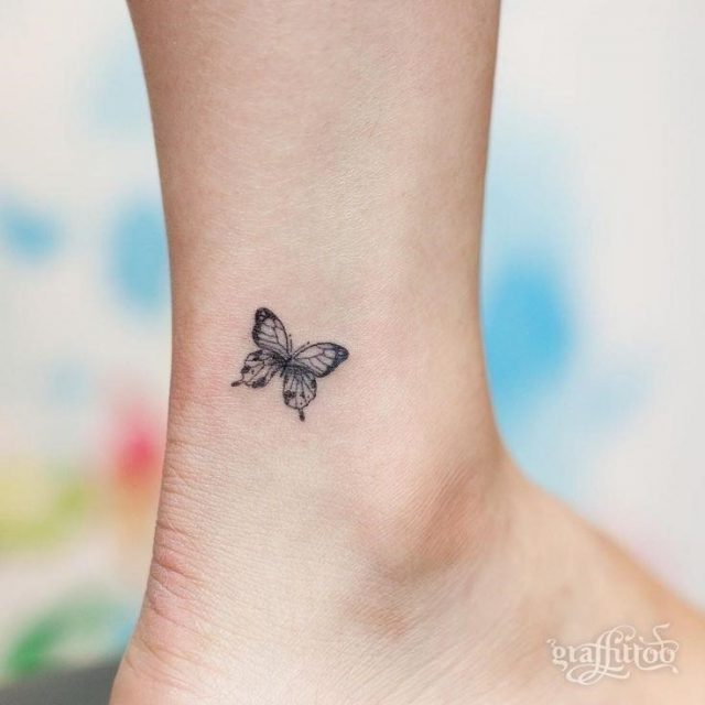 Tiny Butterfly Tattoo On Ankle