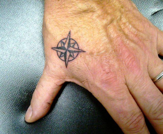 Tiny Compass Tattoo On Hand