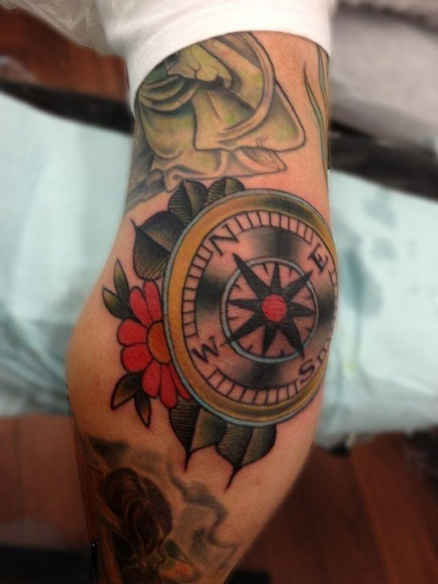 Traditional Compass Tattoo On Elbow