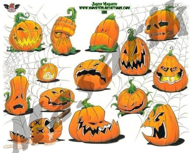Traditional Halloween Pumpkin Tattoo Flash