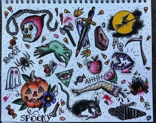 Traditional Halloween Tattoo Flash1