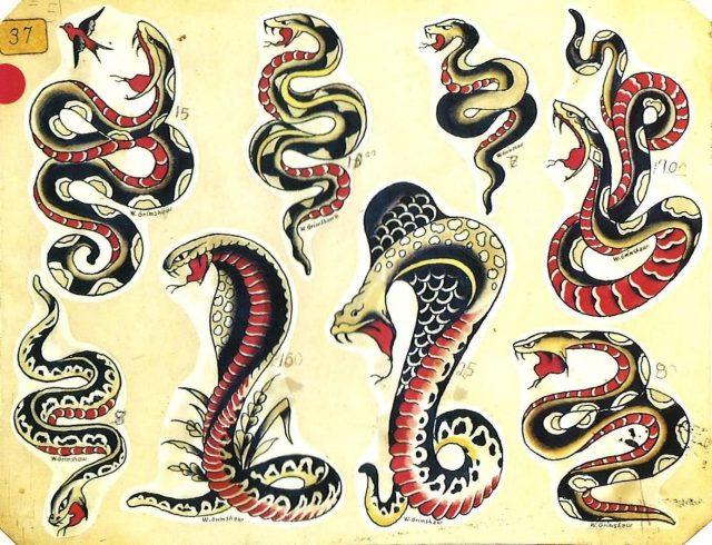 Traditional Horror Snake Tattoo Flash