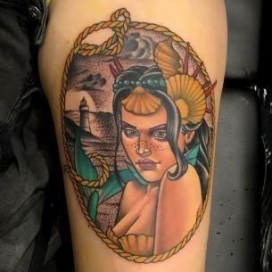 Traditional Mermaid Tattoo by Fulvio Vaccarone 305×305