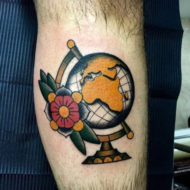 Traditional World Map Tattoo
