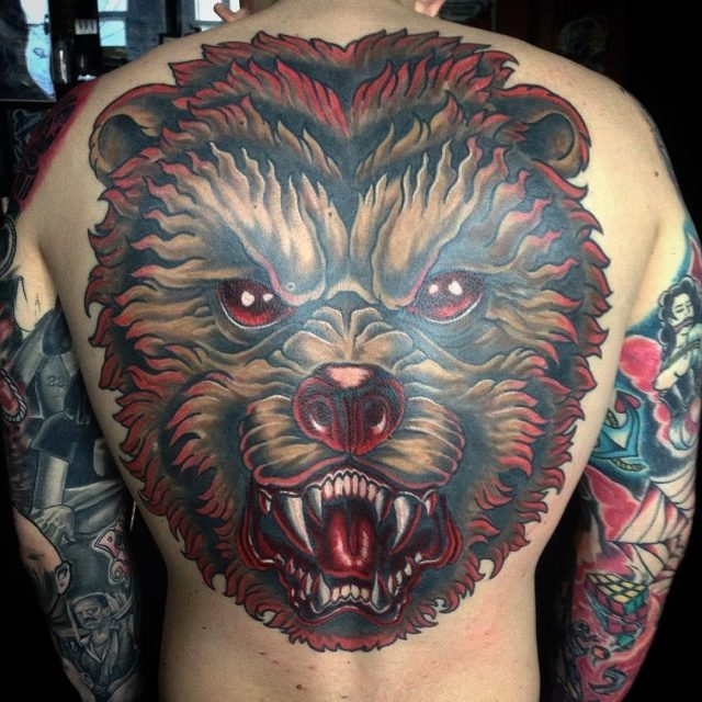 Trendy Bear Tattoo Design For Men