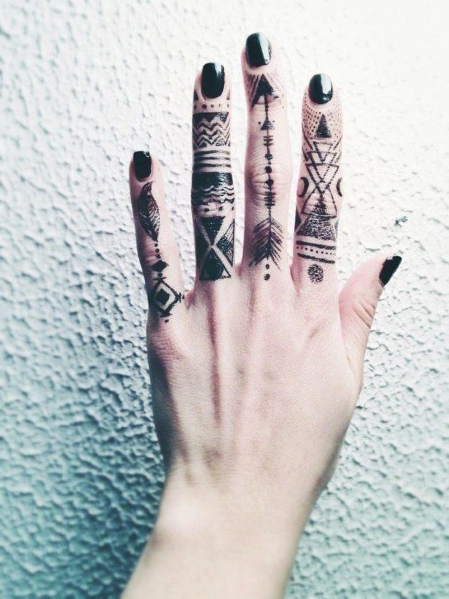 Tribal Finger Tattoos for Women
