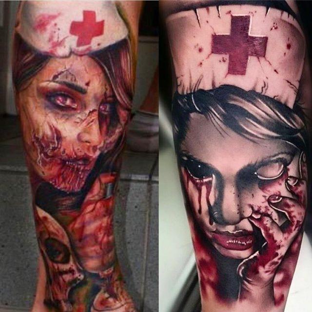 Ultimate zombie nurse tattoo design for leg
