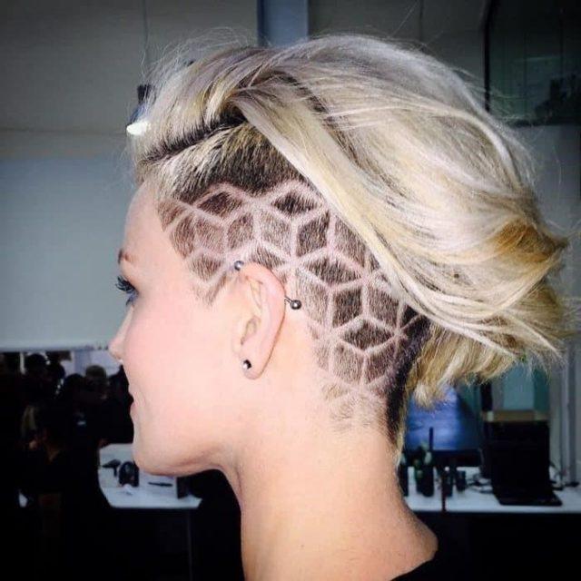 Undercut Hairdresser Tattoos Designs for Girls
