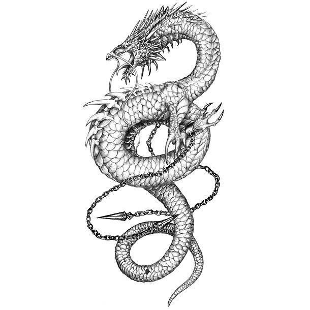 Unique Black And Grey Chinese Dragon Tattoo Design