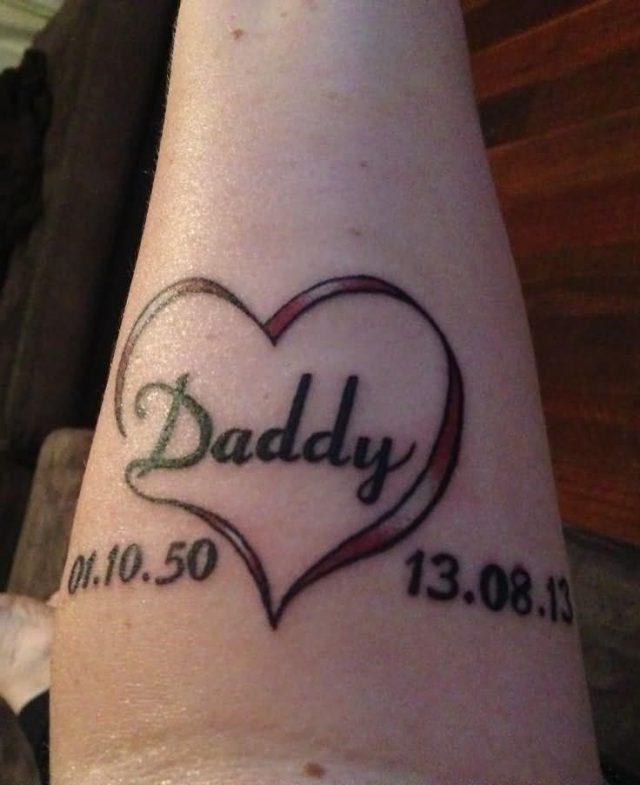 Unique Grey Ink Memorial Dad Tattoo On Forearm