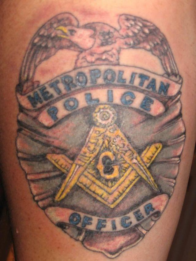 Unique Metro Politan Police And Masonic Symbol Tattoo