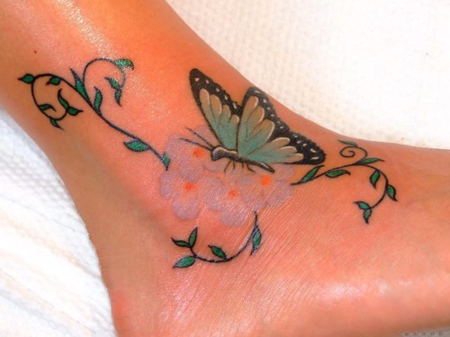 Vine Leaves And Butterfly Tattoo On Ankle