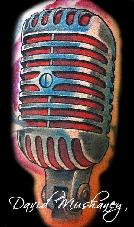 Vintage Microphone Tattoo Desgn Idea
