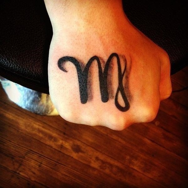 Virgo sign tattoo idea on the hand