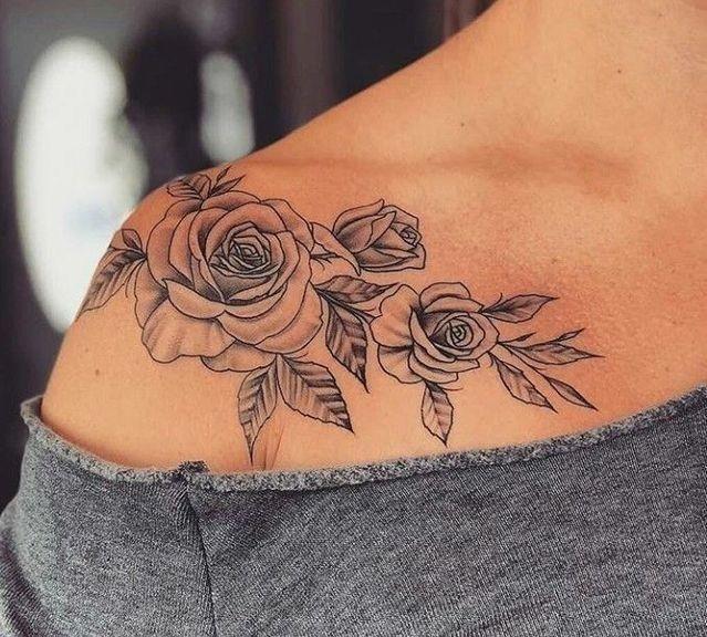 Women Tattoo Roses on shoulder tattoo