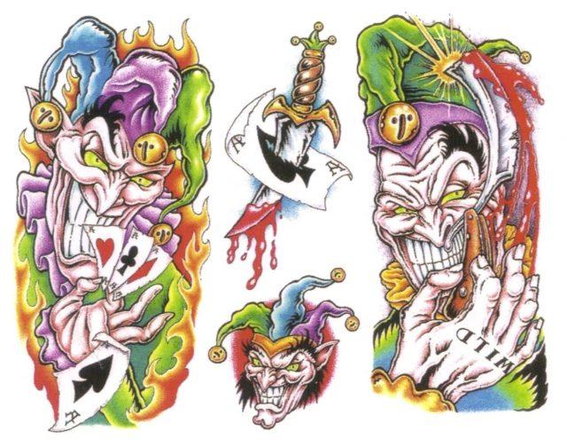 Wonderful Colorful Clown Tattoo Flash