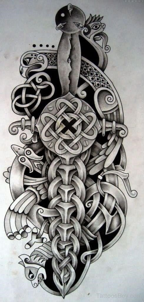 Wonderful Grey Warrior Celtic Dagger Tattoo Design