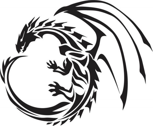 Wonderful Tribal Dragon Flying Tattoo Design
