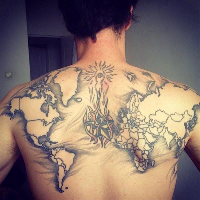 World Map Tattoo on Back