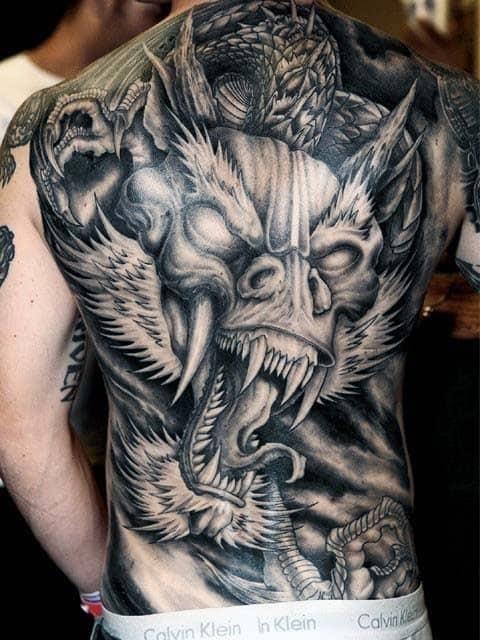 Agressive dragon male full back shaded tattoo designs