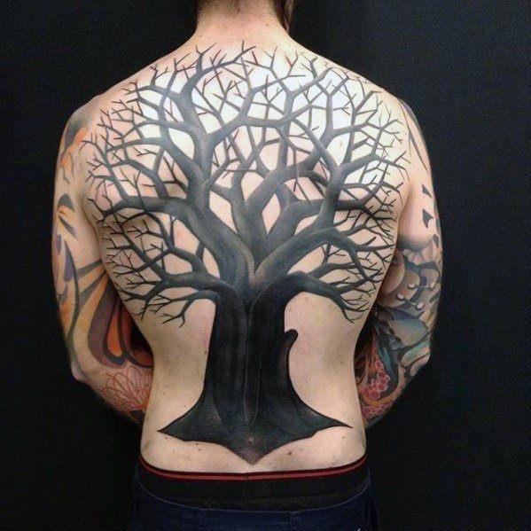 All black ink tree full back mens tattoo designs