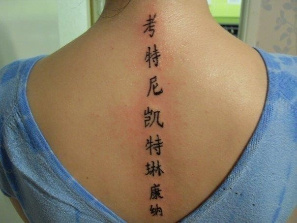 Amazing chinese symbols spine tattoo