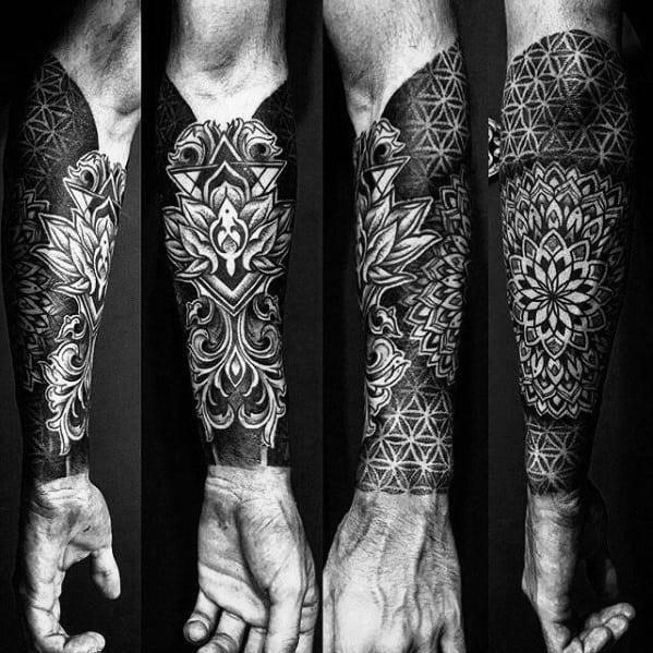 Amazing mens geometric forearm sleeve tattoo designs