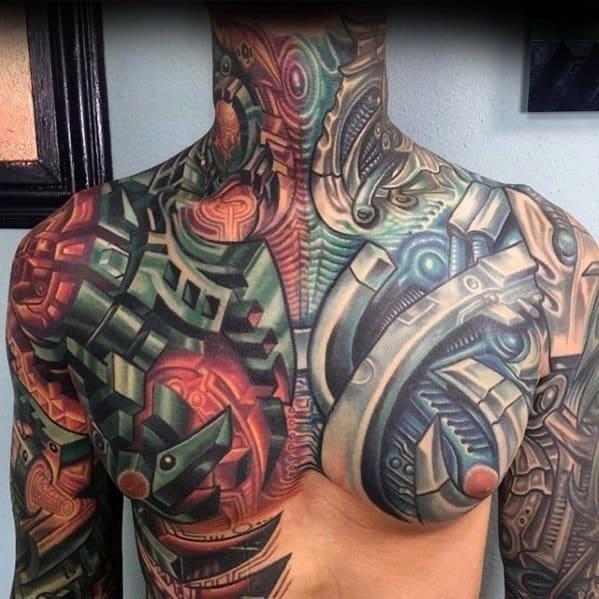 Amazing mens mechanical gear 3d chest tattoo