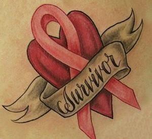 Amazing survivor banner with cancer tattoo design