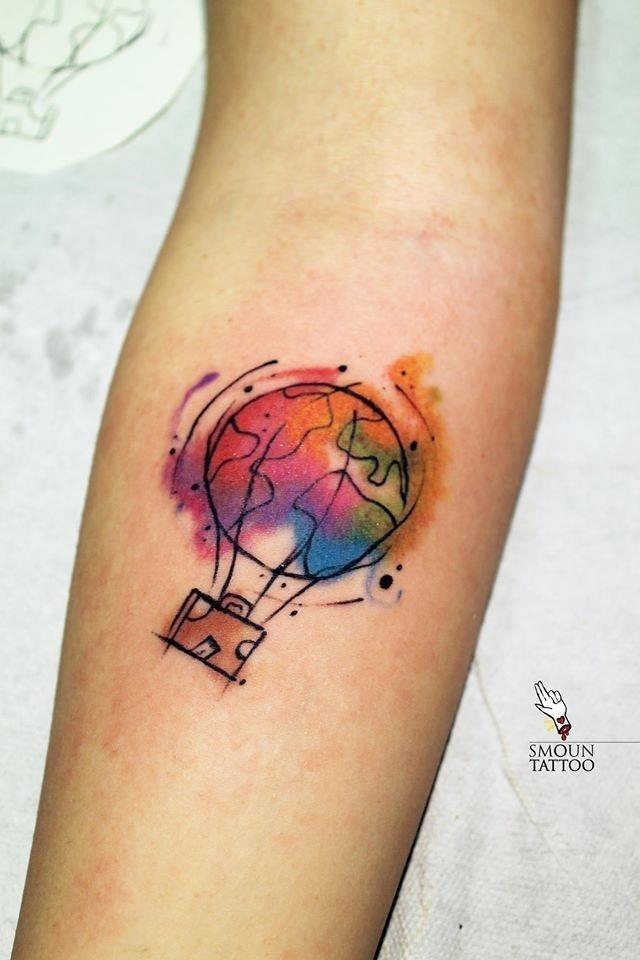 Amazing travel themed hot balloon tattoo