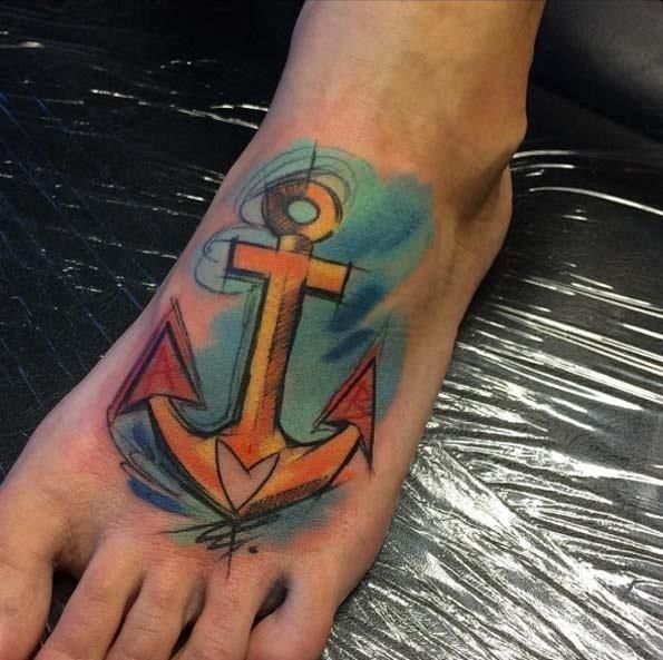 Anchor tattoo foot