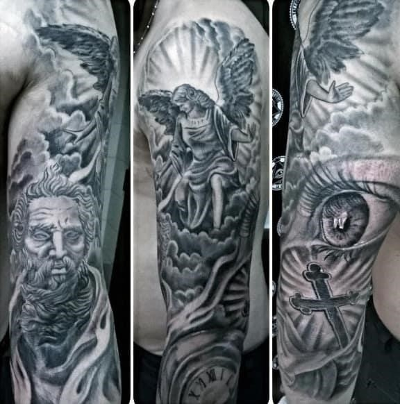 Angel and God religious tattoo males full sleeves