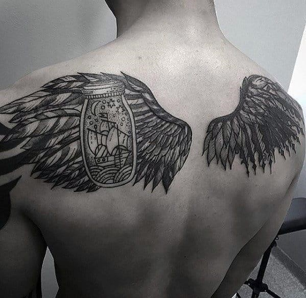 Angel wings with ship in a bottle guys cool upper back tattoos