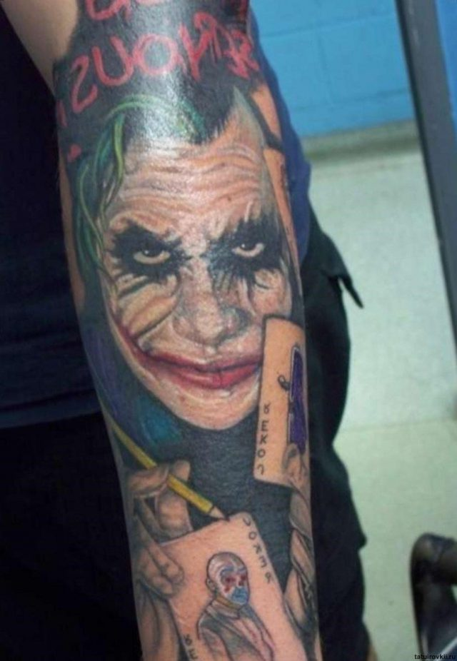 Animated joker tattoo on sleeve