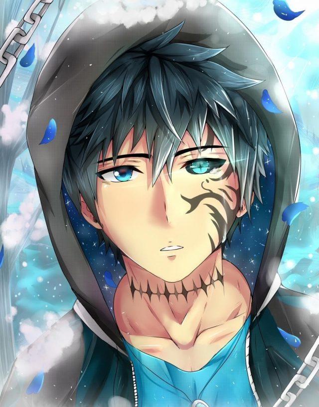 Anime boy tattoo colorful eyes shape petals hoodie anime 6332 resized