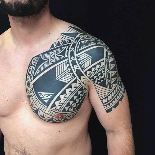 Arm and chest polynesian tribal tattoos for guys