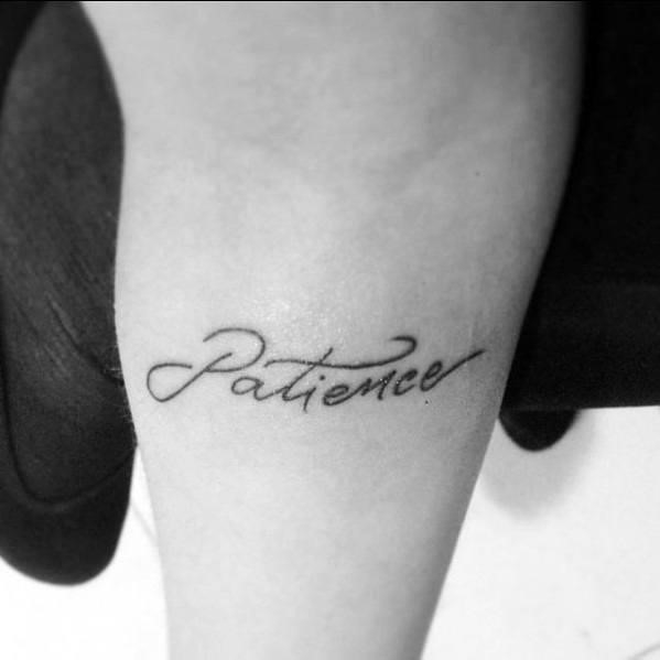 Arm patience word tattoo designs for guys